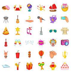 festive icons set cartoon style vector image