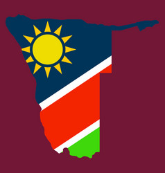 Flag map of namibia vector