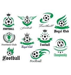 Football emblems and logo isolated on white set vector