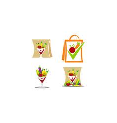 Fruit vegetable store template set vector