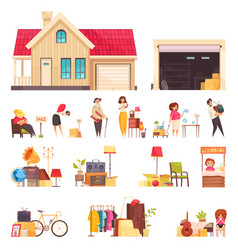 Garage sale icons set vector