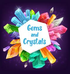Gemstones and crystals precious diamond quartz vector