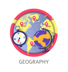 Geography discipline at school university or vector