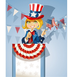 Girl in suit uncle sam stands on podium vector