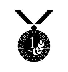 Gold medal with laurel icon black simple style vector image