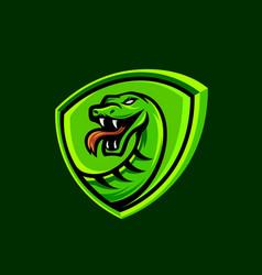 Green viper snake sport mascot logo design icon vector