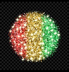 guinea flag sparkling badge vector image