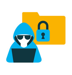 Hacker with laptop and folder isolated icon vector