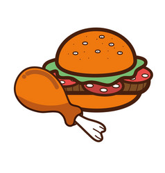 Hamburger and chicken thigh food icon vector