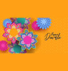 Happy diwali indian festival papercut flower card vector