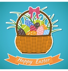Happy Easter card Basket with Easter eggs Easter vector image
