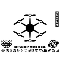 Hexacopter Flat Icon With 2017 Bonus Trend vector