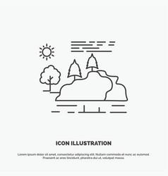 hill landscape nature mountain rain icon line vector image