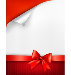 Holiday background with gift glossy bow and ribbon vector image
