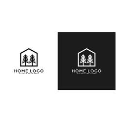 home pine tree logo design template vector image