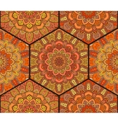 Honey Comb Hex Pattern from Flower Mandala vector image