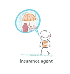 Insurance agent is thinking about insurance vector
