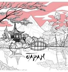 Japan landscape background vector