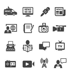 journalism and broadcasting black icons set vector image