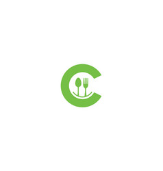 Letter c or initial c with spoon fork restaurant vector