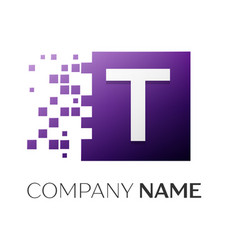 letter t logo symbol in the colorful square with vector image