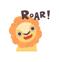 Lion roaring cute cartoon animal making roar vector