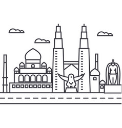 Malaysiakuala lumpur line icon sign vector