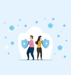 man and woman fighting coronavirus cells vector image
