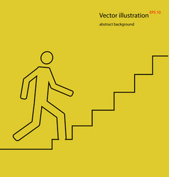 man going up on stairs abstract background stock vector image