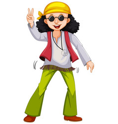 man in hippie clothes doing the peace gesture vector image