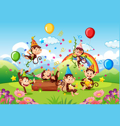 Many monkeys in party theme in nature forest vector