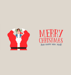 merry christmas web banner of santa claus and kid vector image