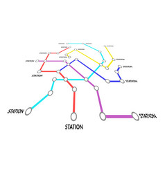 metro map sign color thin line card vector image
