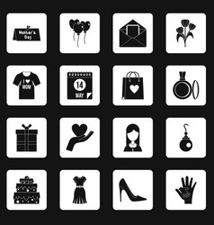 Mothers day icons set squares vector