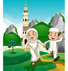 Muslim couple at the mosque vector