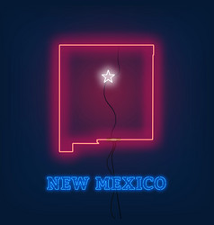 neon map state of new mexico on dark background vector image