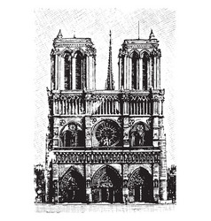 notre dame viewed from the front vintage engraving vector image
