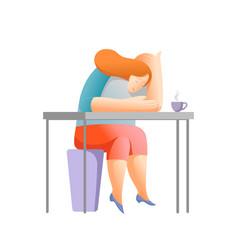Office work bored woman falling asleep vector