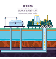 Oil industry with fracking process vector