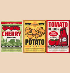 Organic farm cherry tomato ketchup potato chips vector