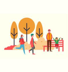 people walking outdoors in warm fall season cloth vector image