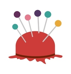 Pincushion with pins icon vector