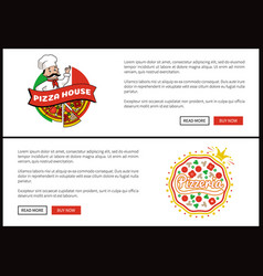 pizza house promotional internet page templates vector image