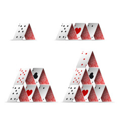 realistic detailed 3d house poker card set vector image