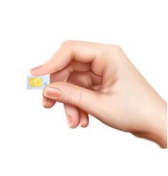 Realistic sim card hand composition vector
