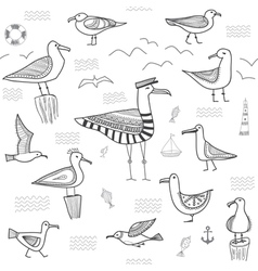 Seagulls set seamless pattern vector