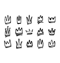 set hand drawn doodles crowns vector image