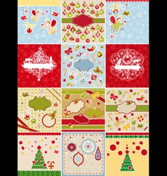 Set of christmas cards and design elements vector