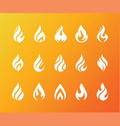 Set of white fire flame icons and logo isolated vector