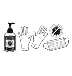 set protection items vector image